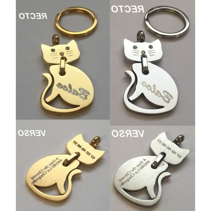 collier chat avec medaille